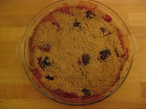 Grab those prune plums if you spot them-- this crumble is ridiculously good.
