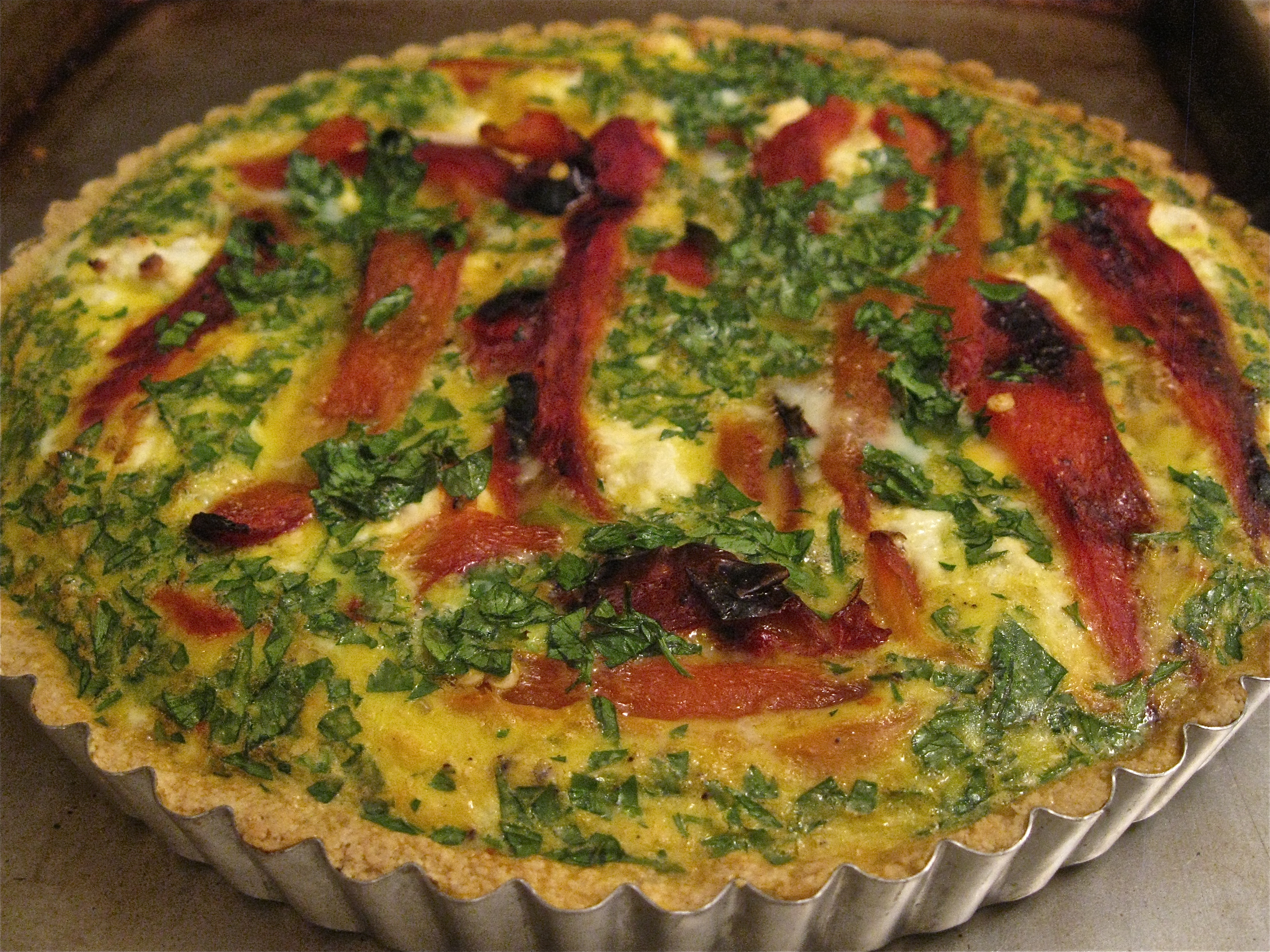 Roasted Red Pepper and Goat Cheese Tart – Ari Cooks