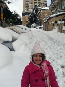 My big girl in the aftermath of the recent Jerusalem snowstorm